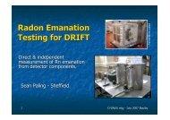 Radon Emanation Testing for DRIFT
