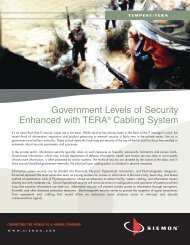 Government Levels of Security Enhanced with TERA ... - Siemon