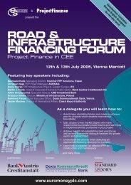 road & infrastructure financing forum - Euromoney Institutional ...