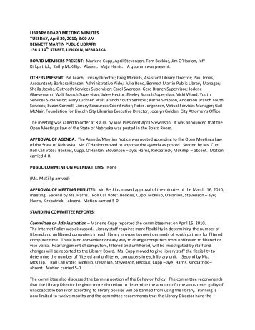 LIBRARY BOARD MEETING MINUTES TUESDAY, April 20, 2010; 8 ...