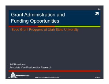 Grant Administration and Funding Opportunities - Utah State University