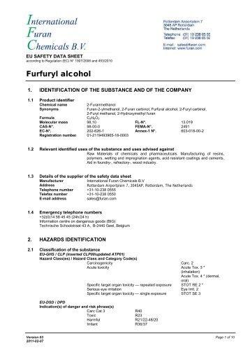 Furfuryl alcohol - International Furan Chemicals BV