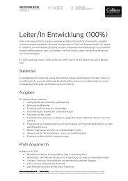 Stellenprofil_Leiter Development - Colliers International Zurich