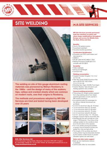 Site Welding General Info PDF - MR Site Services