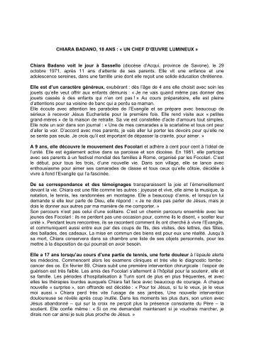 Biographie Chiara Luce Badano - Diocèse d'Albi