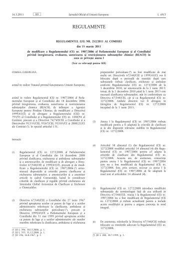 Regulamentul (UE) nr. 252/2011 al Comisiei din 15 ... - EUR-Lex