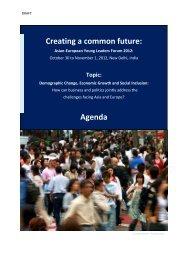 Creating a common future: Agenda