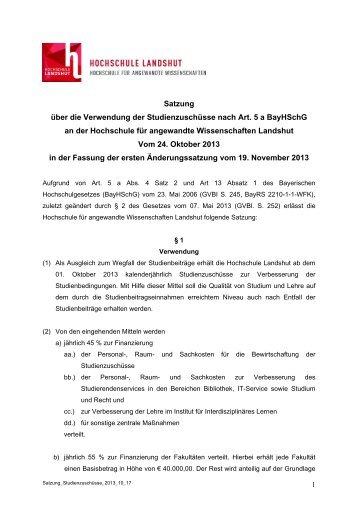 Satzung über die Verwendung der Studienzuschüsse nach Art. 5 a ...
