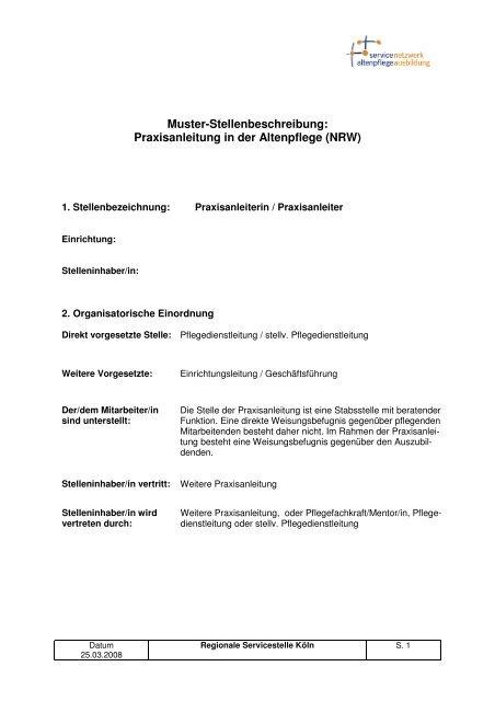 Muster Stellenbeschreibung Praxisanleitung In Der Altenpflege