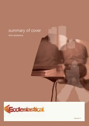 summary of cover - Ecclesiastical Insurance