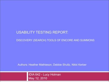 usability testing report - University of Baltimore Home Page web ...