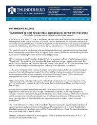 FOR IMMEDIATE RELEASE THUNDERBIRD TO HOST ROUND ...