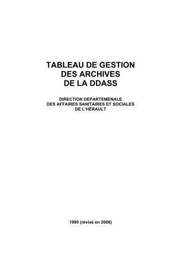TABLEAU DE GESTION DES ARCHIVES DE LA DDASS - pierresvives