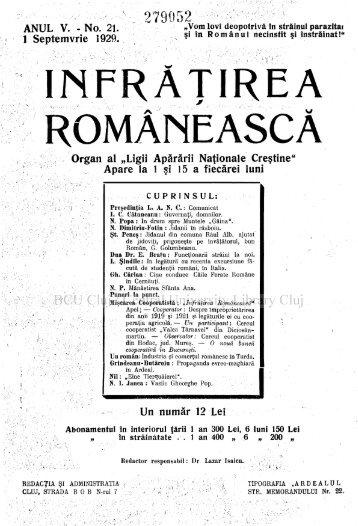 """ÎNFRĂŢIREA ROMÂNEASCA Organ al """"Ligii Apărării Nationale ..."""