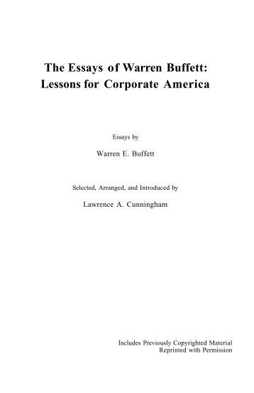 essay of warren buffett lessons for corporate america Tutti i libri salvati dagli utenti sono elencati nella categoria wikipedia:libri they are the essays of warren buffett lessons for corporate america ebook located in the former location of progreen plus farewell.