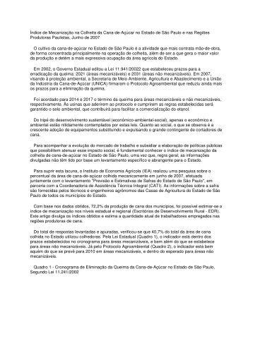 Índice de Mecanização na Colheita da Cana-de ... - Sucre Ethique
