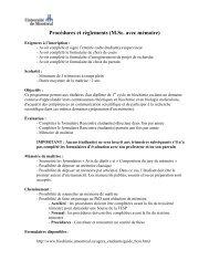 Procédures et règlements (M.Sc. avec mémoire)