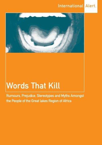 Words that Kill Book - International Alert