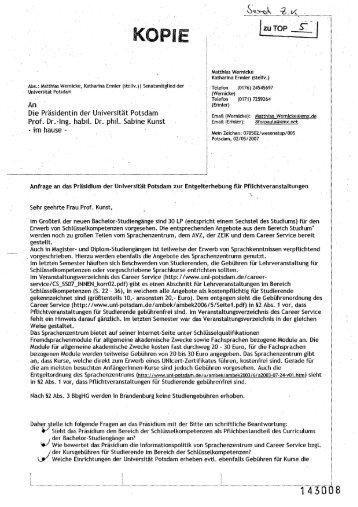 Matthias Wernicke Katharina Ermler (stellv.) - AStA - Universität ...