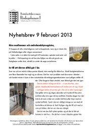 Nyhetsbrev 2013-02-09.pdf - Brf Roslagsbanan 1 - Bostadsrätterna