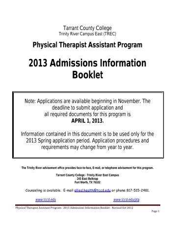Physical Therapist Assistant Program - Tarrant County College