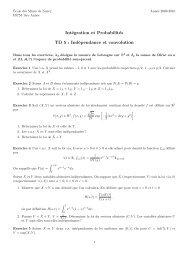 Intégration et Probabilités TD 5 : Indépendance et convolution
