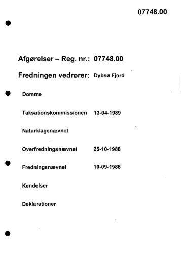 Afgørelser - Reg. nr.: 07748.00 Fredningen vedrører ... - Naturstyrelsen
