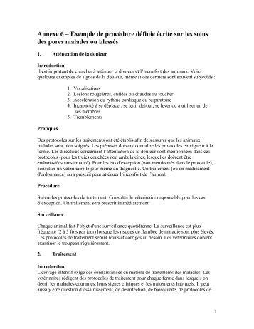 Annexe 6 – Exemple de procédure définie écrite sur les soins ... - CQA