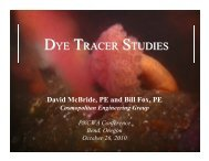 Dye Tracer Studies in the Pacific Northwest - pncwa