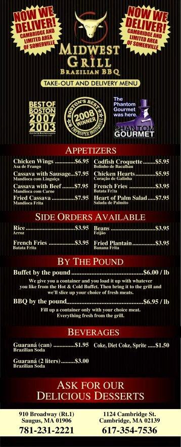 Printable Menu - Midwest Grill
