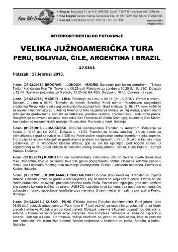 VELIKA JUŽNOAMERIČKA TURA - Kontiki