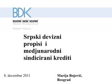Srpski devizni propisi i medjunarodni sindicirani krediti