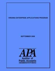 Virginia Enterprise Applications Program September 2008