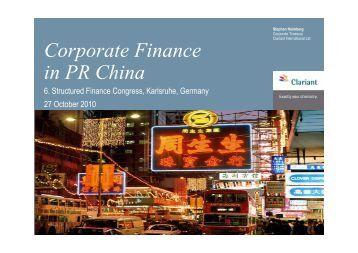 Corporate Finance in PR China sfd Karlsruhe