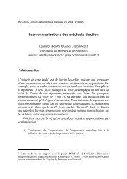 Les nominalisations des prédicats d'action - Université de Neuchâtel