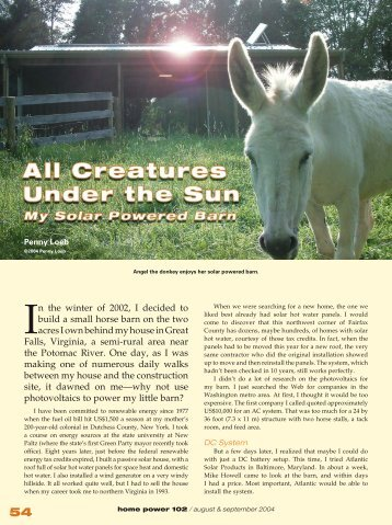 Creatures Under the Sun—My Solar Powered Barn - Equal ...