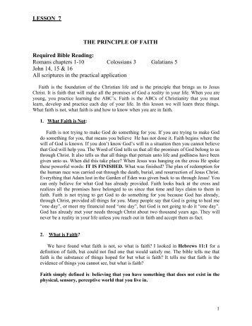 Lesson 7 THE PRINCIPLE OF FAITH
