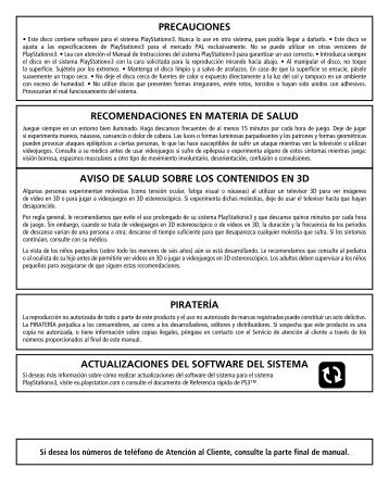 actualizaciones del software del sistema precauciones ... - Call of Duty