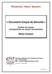 PREVENTION – SANTE - SECURITE « Document Unique de Sécurité