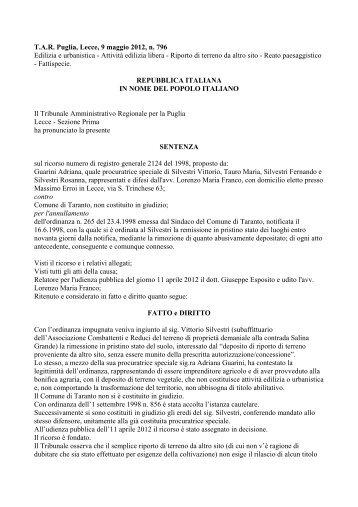 T.A.R. Puglia, Lecce, 9 maggio 2012, n. 796 Edilizia e ... - Ediltecnico