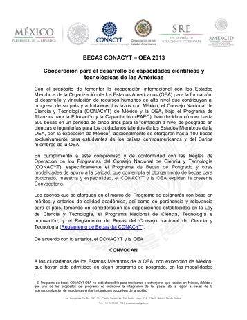 Convocatoria Becas CONACYT - OEA 2013