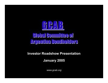 Investor Roadshow Presentation January 2005