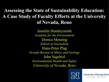 A Case Study of Faculty Efforts at the University of Nevada, Reno