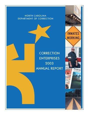 2003 Annual Report.PRINTERsSprd - Correction Enterprises