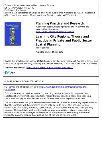 Theory and Practice in Private and Public Sector Spatial Planning