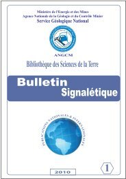 bulletin signaletique n° 1/ 2010 sommaire - Ministère de l'énergie et ...