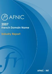 French Domain Name Industry Report - 2007 - Afnic