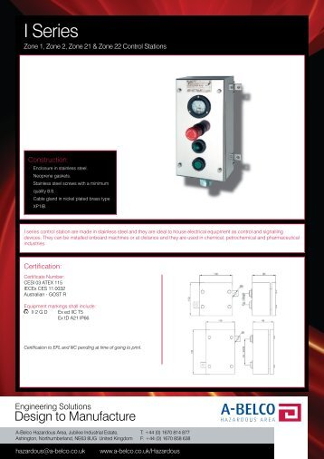 Download Data Sheet for full product specifications - A-Belco
