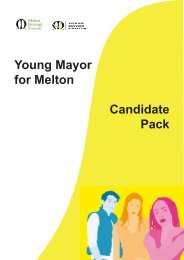 Young Mayor for Melton Candidate Pack - Melton Borough Council