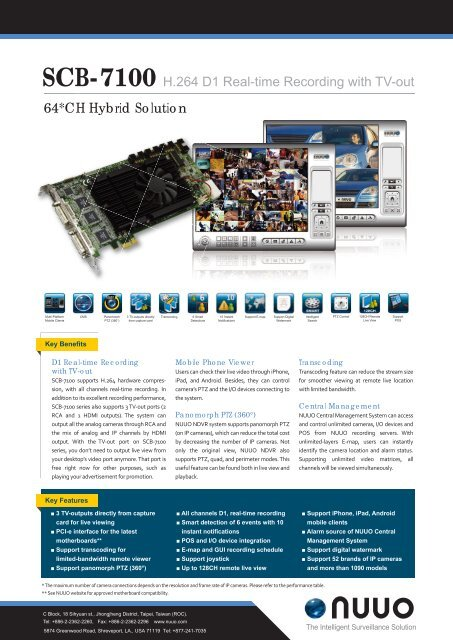 SCB-7100 H.264 D1 Real-time Recording with TV-out - Ifsec